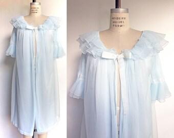 1950s Vintage Robe Peignoir Negligee 50s 60s Lingerie Dorsay Light Blue Chiffon Ruffle / Medium Large