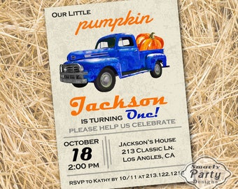 Pumpkin Birthday Invitation - Fall Autumn 1st Birthday Invitation - Pumpkin Patch Blue Truck Printable Personalized 4 x 6 or 5 x 7