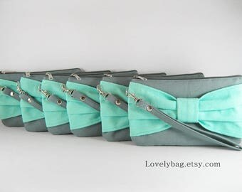SUPER SALE - Set of 9 Bridesmaids Clutches, Bridal Clutches, Wedding Clutches / Gray with Mint Bow Clutches - Made To Order