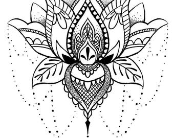 Bohemian Temporary Tattoo - Boho Temporary Tattoo - Lotus Temporary Tattoo - Lotus Fake Tattoo - Boho Gift Idea - Lotus - Boho - Boho Chic