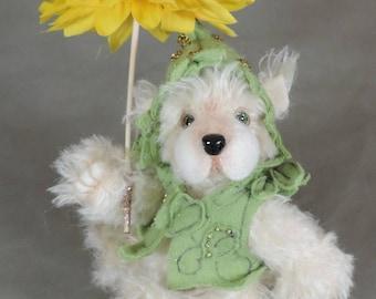 "Artist Teddy Bear, Green Pixie Bear, OOAK Mohair and needle felted face, collectible, handmade teddy, fully jointed, 7.5"" tall"