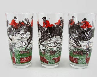 3 Hunting Scene Glasses, Fox Hunting 16 oz Tumblers, Equestrian Retro Barware
