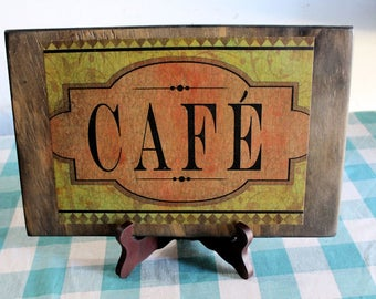 Cafe Wood Plaque with Stand