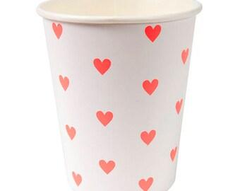 Neon Heart Paper Cups - Meri Meri- Party Decor Supplies Valentine, Pink, Birthday, Parties, Hearts, Love, Weddings, Birthday, Galentine