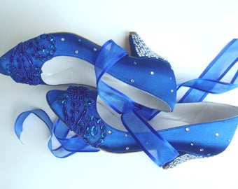 Wedding Shoes - Royal Blue Embroidered Lace Bridal Shoes with Rhinestones