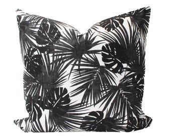 Decorative Designer Island Paradise, Palm Black and White Pillow Cover, 18x18, 20x20, 22x22 Throw Pillow