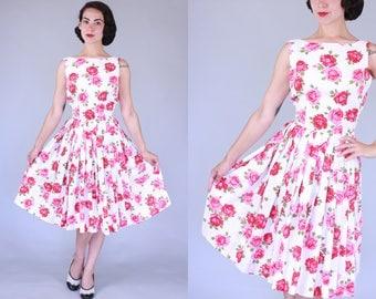 1950s Morcom dress | vintage 50s rose print fit and flare dress with v-back | xs