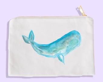 whale art - whale watercolor - whale cosmetic bag - whale makeup case - whale cosmetic case - whale makeup bag - coastal bridesmaid gift