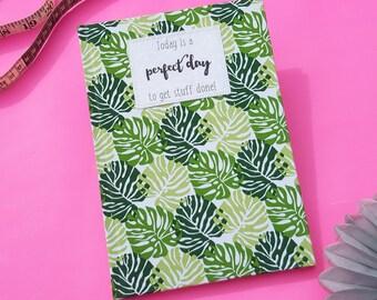 Academic Diary 2017 / 2018 A5 Hardback Fabric Covered Week to View Split Leaf