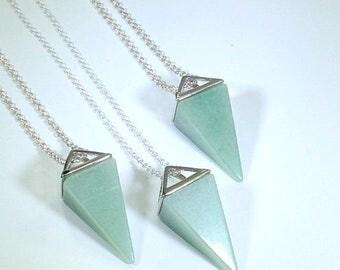 10% off SALE Green Aventurine Necklace Triangle Necklace Green Aventurine Pendulum Geometric Necklace Stone Necklace Green Aventurine Jewelr