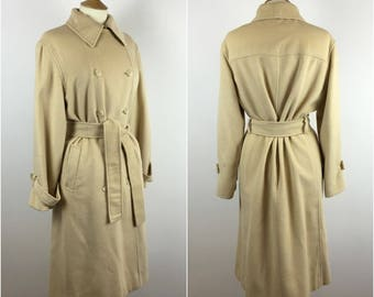 Vintage 1980s Camel Coat - 80s Jaeger Camel hair Coat - Oversized - Double Breasted - Tie Waist - Medium - UK 10-12 / US 6-8 / EU 38-40