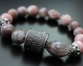 Anne Choi bead and Botswana agate bracelet, boho gemstone bracelet, stretch stacking bracelet, neutral colors Bali sterling silver bracelet