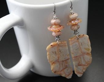 Natural bamboo agate slice earrings - fall boho long earrings - artisan lampwork earrings - patterned gemstone earrings - sterling earrings