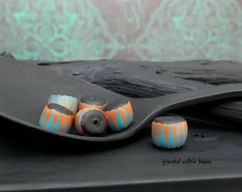 Striped Polymer Mini Rondelle Bead - Teal Black Orange Stripe - Handmade Modern Bohemian Bead - 6-7mm - Pkg. 6