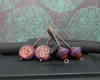 Polymer Bicone Flat Round Bead Mix - Purple Brown Brass Copper - Handmade Bohemian Earring Bead Pairs - Pkg. 4
