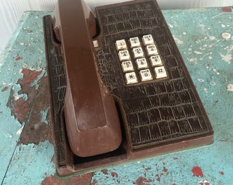 Vintage Brown Western Electric Push Button Phone Faux Reptile Alligator Design