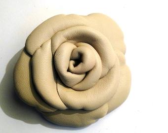 ecru leather flower brooch