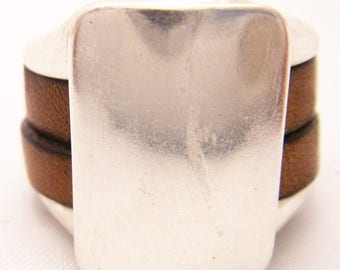 flat leather 5mm whiskey on bath silver plated zamak base ring