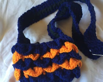 HC Dark Blue and Orange Crocheted Dragon Scales 4x6 Cellphone Tote with Black Lining
