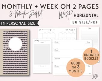 PERSONAL Size Monthly-Week on 2 Pages Horizontal Printable Booklet Insert - Good for 3 Months