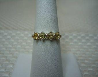 Round Cut Yellow Ceylon Sapphire 4 Stone Ring in Sterling Silver   #2077