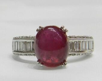 Ruby Ring 14K White Gold Diamond Ruby Ring Ruby Cabochon Ring Genuine Ruby Engagement Ring Diamond July Birthday Anniversary Ring