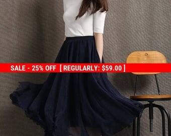 Party skirt, chiffon skirt, long skirt, navy blue skirt, womens skirts, elegant skirt, flare skirt, swing skirt, pleated skirt C428