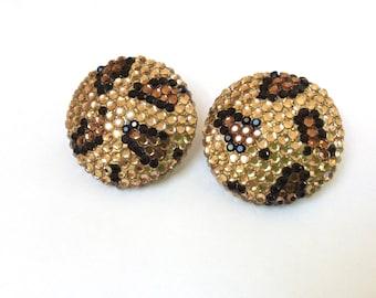 Vintage Richard Kerr Leopard Earrings, Signed Richard Kerr Clip On Earrings, Gold Black and Brown Sparling Leopard Earrings, 1980s Glam
