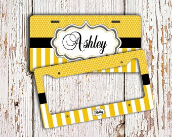 Personalized car tag - Monogram license plate or frame - Yellow honeycomb stripes black - License plate monogrammed bicycle plate (1007)