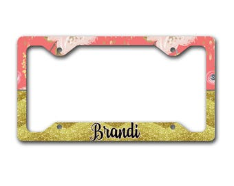 Girly personalized license plate  frame, Floral with faux glitter chevron Pink gold flowers Monogram seat belt strap cover keychain (1678)