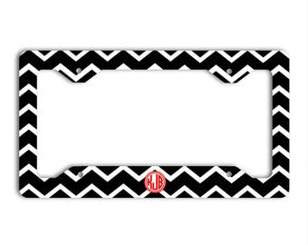 Preppy monogram license plate frame, Black chevron with red car tag cover, Black and red, Personalized gifts for first car driver (1438)