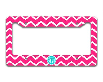 Monogrammed chevron license plate cover - Hot pink chevron Light blue monogram, Personalized gifts for girls, First car driver gift (9695)