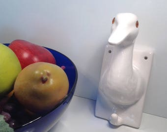 Vintage Duck Towel Coat Wall Mount With Glass Eyes