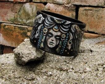 Bracelet Harpy Alkonost Siren Occult Witchcraft Mythology Witch Dark Hand painted Folklore Darkness
