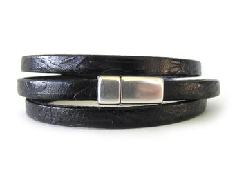 Black Leather Wrap Bracelet - Triple Wrap Leather Bracelet - Triple Wrap Bracelet - Men's Leather Bracelet - Women's Wrap Bracelet - UL0606