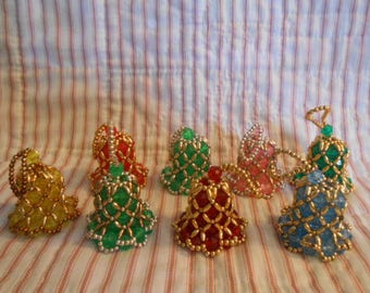 Eight Vintage Beaded Bell Christmas Ornaments