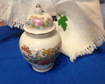 Vintage Asian Ginger Jar Pheasants In A Flower Garden