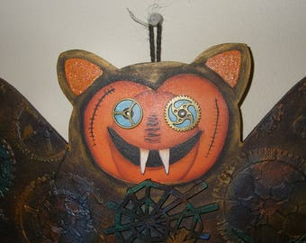 Halloween Bat with cogs and wheels - Spooky Banner
