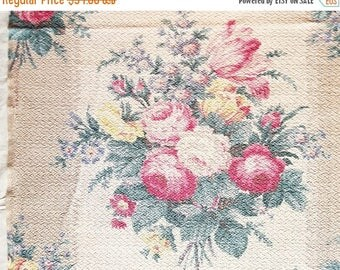 ON SALE Vintage 1930's English Cabbage Roses Floral Vintage Off White & brown Barkcloth Fabric Panel, 1.7 Yards, Red, Pink, Green, Yellow, B