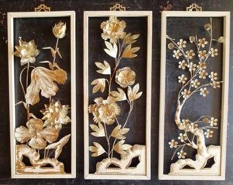 Vintage Metal 3D Asian Wall Art Sakura CHERRY Blossom Flowers Tree Set of Three, Made in Hong Kong, Asian Tole