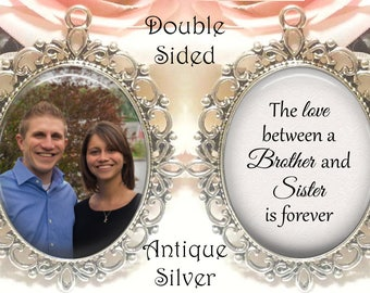 SALE! Double-Sided Memorial Bouquet Charm - Personalized with Photo - The love between a brother and sister