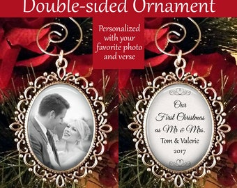 SALE! Personalized Ornament with Photo - Christmas Ornament - Our First Christmas as Mr. & Mrs.- Cyber Monday