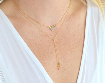 Gold Lariat Necklace Double Drop - Catherine Marie Jewelry