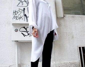 SALE White   Loose  Shirt/ Asymmetric shirt/ Oversize Summer  top A11107