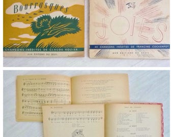 Vintage Music Books, Set of Two 1950s French Songs for Children, Music Sheets