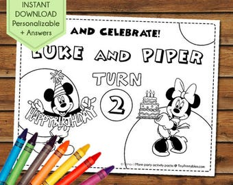 Mickey and Minnie Party Favors for Twins, Mickey and Minnie Coloring Pages, Minnie and Mickey Party Games, Birthday, Party Activity Book