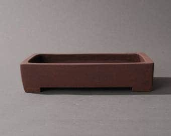 Rectangle Bonsai pot. Dark brown