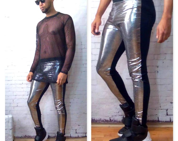 Two Tone Silver/Black Megging/Legging Stretch Jersey