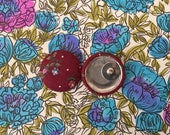 50% OFF SALE Wholesale Button Earrings / Fabric Covered / Bulk Jewelry / Made in USA / Burgundy / Sensitive Ears / Stud Earrings / Small Gif