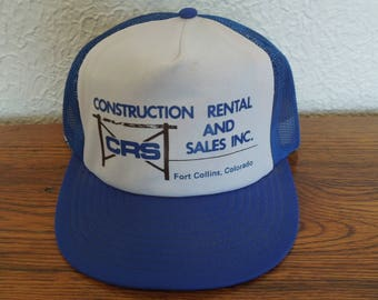 Vintage Trucker Snapback Hat- CRS Construction- Blue and White